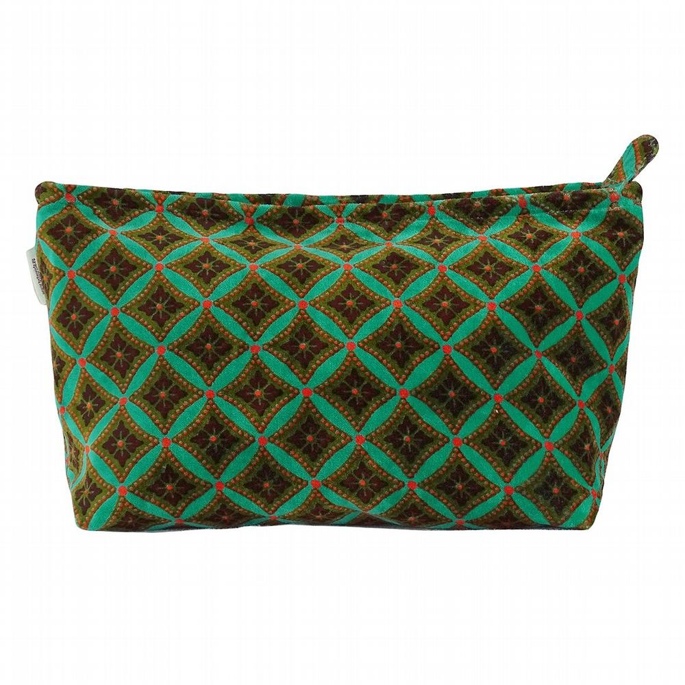 Cotton Velvet Wash Bag - Bora Turquoise